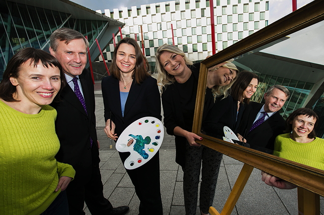 Pictured at the launch of Women on Walls are: Prof Aoife McLysaght, TCD; Alastair Blair, country managing director, Accenture Ireland; Laura Mahoney, CEO, Royal Irish Academy and Prof Lydia Lynch. Aoife's and Lydia's portraits will be amongst those hung on the walls of the Royal Irish Academy. Image via Accenture