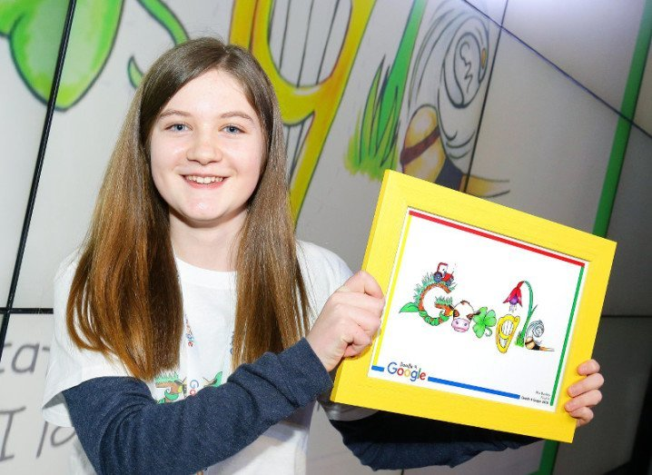 Mia Buckley with her winning Doodle 4 Google graphic, via Marc O'Sullivan