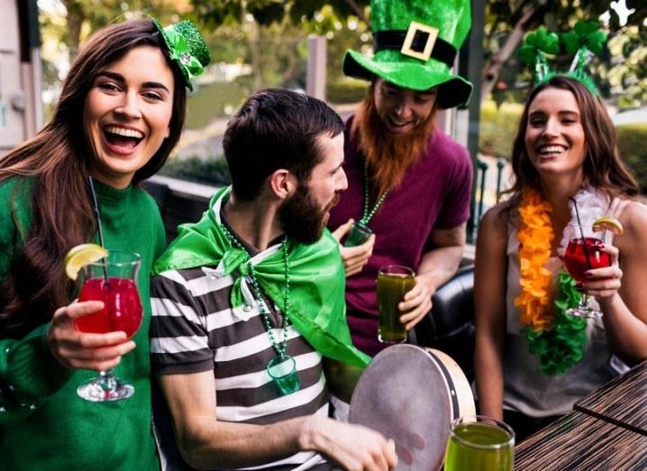 St Patrick's Day: people celebrating