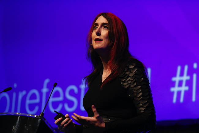 Brianna Wu speaking at Inspirefest 2015. Image via Conor McCabe Photography