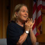 Diane Greene speaking at a UC Berkeley event recently. Image via YouTube
