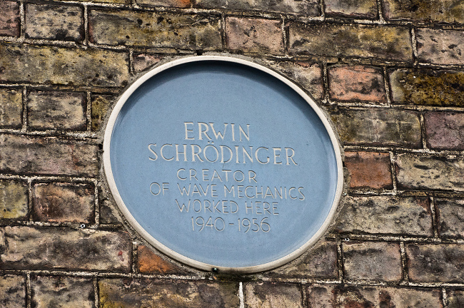 Erwin Schrödinger Worked Here sign, via William Murphy/Flickr
