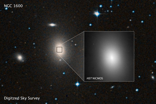 A sky survey image of the massive galaxy NGC 1600, and a Hubble Space Telescope closeup of the bright center of the galaxy where the 17-billion-solar-mass black hole – or binary black hole – resides, via ESA/Hubble/STScI