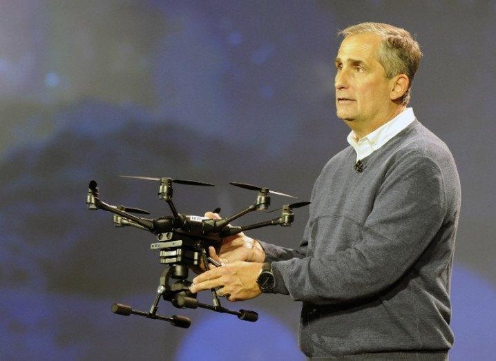 Intel CEO Brian Krzanich with drone