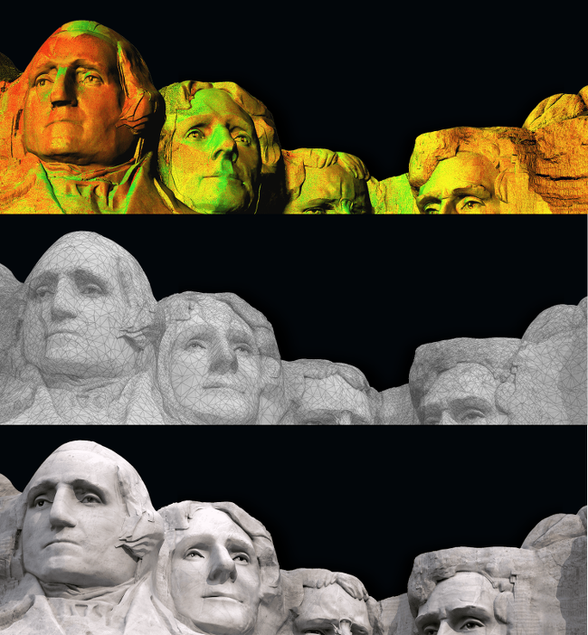 The mapping process, in stages, at Mount Rushmore, via CyArk