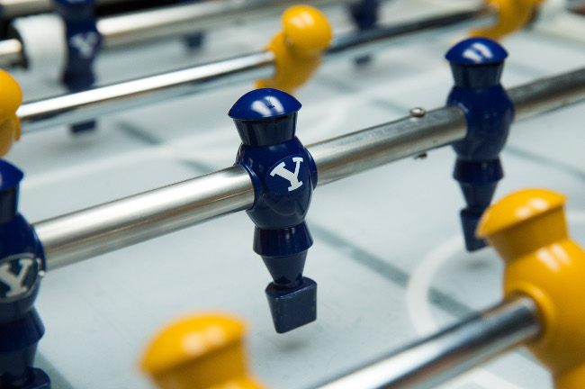 BYU Engineers created a robot foosball table that uses a camera and motors to play against a human player, via Jaren Wilkey