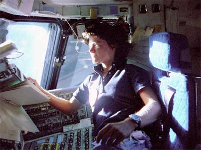 Sally Ride aboard STS-7 space shuttle