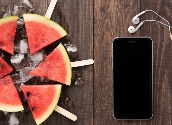 Uprise: phone and watermelon