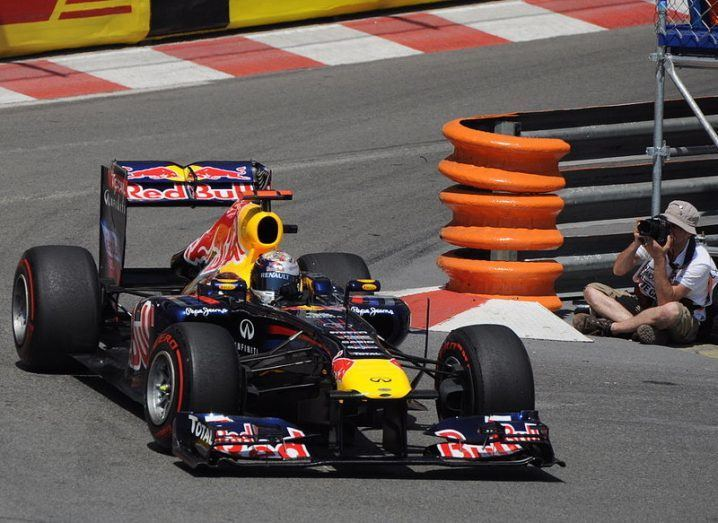 Sebastien Vettel in a Red Bull at the 2011 Monaco GP, via Wikimedia Commons
