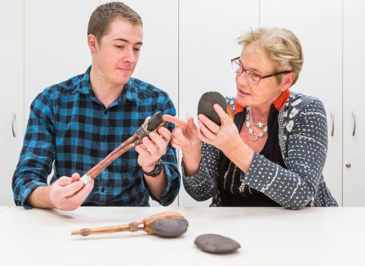 Prof Sue O'Connor & Tim Maloney with axe examples