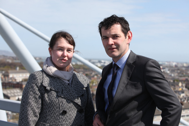 Dr Suzanne Little, researcher at DCU's Insight Centre for Data Analytics, and Tomás Meehan, CIO of the GAA on top of Croke Park –image via Luke Maxwell
