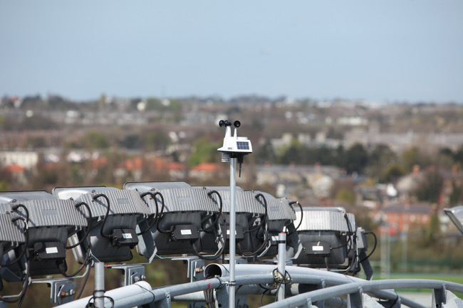 Intel's micro-climate weather station at the top of the Cusack Stand – image via Luke Maxwell Croke Park