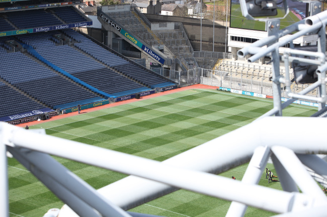 The shade inches onto the Croke Park pitch from the Hogan Stand – image via Luke Maxwell