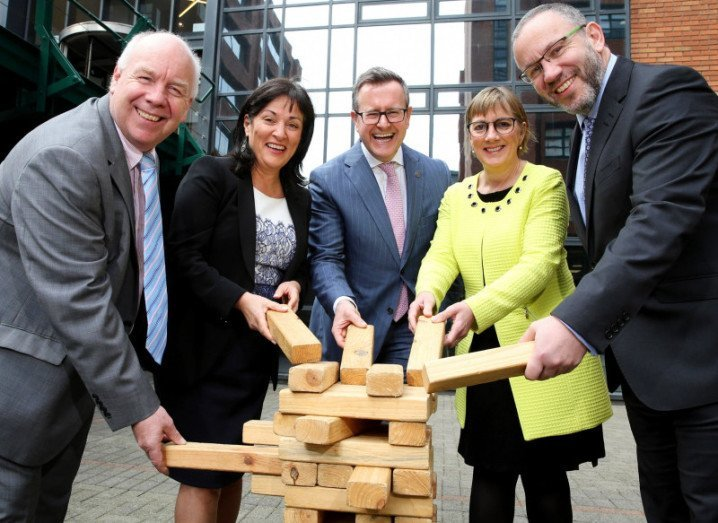 At the announcement of EOY 2016 are (l-r) InvestNI's Ian Murphy, Cpl's Anne Heraty (Chairperson of the EOY judging panel), programme director Sean Duffy, Enterprise Ireland CEO Julie Sinnamon and Kevin McLoughlin, partner lead of the programme