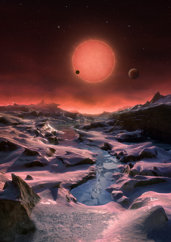 Earth 2.0 This artist's impression shows an imagined view from the surface one of the three planets orbiting TRAPPIST-1, via ESO/M. Kornmesser