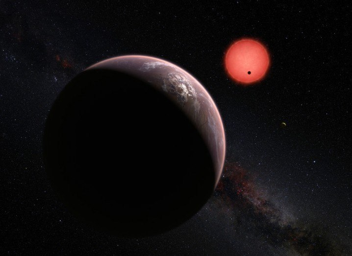 This artist's impression shows an imagined view of the three planets orbiting TRAPPIST-1, 40 light years from Earth,via ESO/M. Kornmesser/N. Risinger (skysurvey.org)