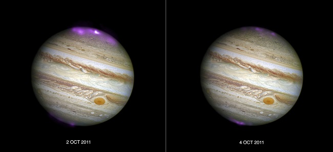 The images of Jupiter showing the X-ray auroras. Image via NASA/CXC/UCL/W.Dunn et al, Optical: NASA/STScI