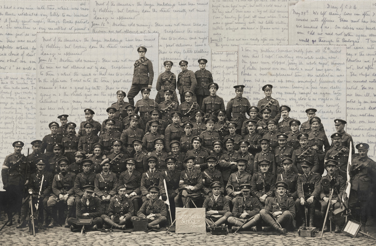 World War One regiment, includes 20-year-old Charles Wynne from Avoca, Wicklow in the front row, third from the left - via Trinity College