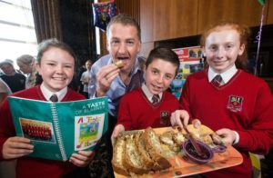 Pictured at the Cork JEP showcase were pupils from Scoil Chroí rosa, Blarney, Co. Cork, (l-r) Hannah Quill, Mark O'Callaghan, and Rachel O'Connor, with Aiden Lee, Eolas International – via Cathal Mooney