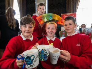 Pictured at the Cork JEP showcase were (l-r) Eoghan O'Donnabhain, Katie Hearne, Jack Nestor and (back row) Conor O'Muir, from Gaelscoil Ui Drisceoil, Glanmire, Co. Cork – via Cathal Mooney