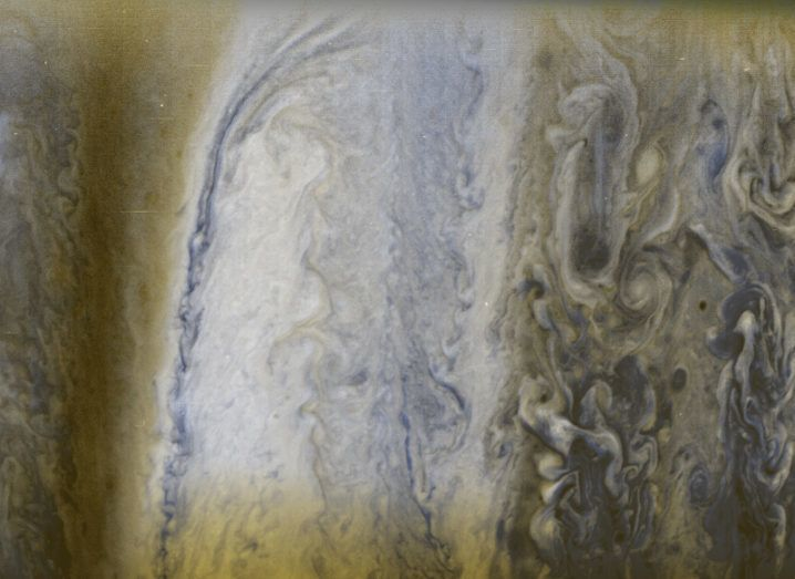 Composite image of Jupiter's gaseous atmosphere
