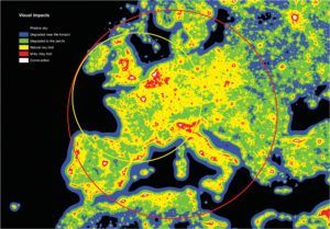 Diagram showing severity of light pollution in Western Europe