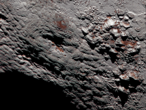 One of two potential cryovolcanoes spotted on the surface of Pluto by the New Horizons spacecraft, via NASA