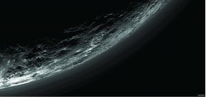 This image of haze layers above Pluto's limb was taken by the Ralph/Multispectral Visible Imaging Camera (MVIC) on NASA's New Horizons spacecraft.