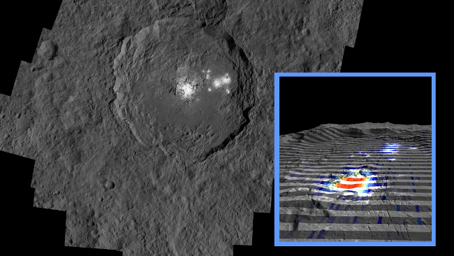 The center of Ceres' mysterious Occator Crater is the brightest area on the dwarf planet, via NASA/JPL-Caltech/UCLA/MPS/DLR/IDA/ASI/INAF