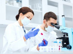 STEM: researchers using microscope and pipette