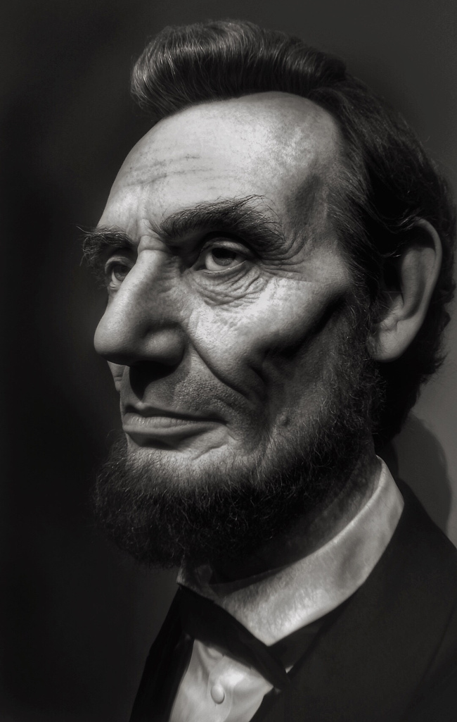"Geri Centonze's take on Abraham Lincoln – ""Inspired by the film, Lincoln, The Ronald Reagan Library in California had a special Lincoln exhibit which I attended. One of the items featured was a bust of Abraham Lincoln by special effects artist Kazuhiro Tsuji."""