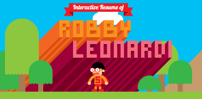 Robby Leonardi's interactive CV (click here) is the best of the bunch. The effort that went in appears immense and shows just how talented he is at design, coding and animation. If this doesn't catch the eye, nothing will.