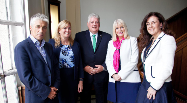 Louis Carron, the connector who introduced TLM to Ireland; Mary Glynn, VP of business development of TLM; Michael Carron, co-founder and principal of TLM; Minister for Jobs, Enterprise and Innovation, Mary Mitchell O'Connor and Joanna Murphy, CEO, ConnectIreland - image via Paul Sherwood