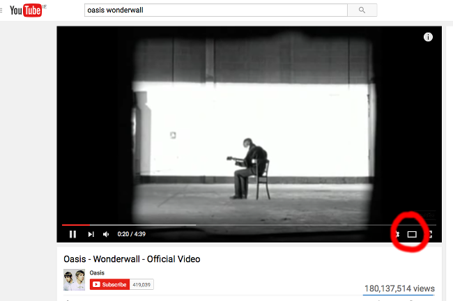 Theatre mode YouTube