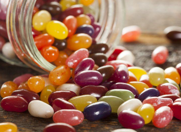 Maths: Jelly beans, spilling out of a jar