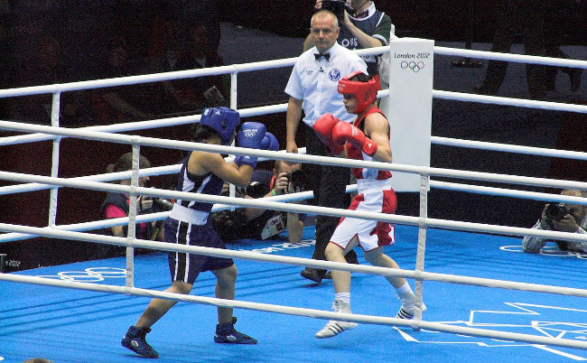 Katie Taylor on her way to Olympic gold at London 2012, via Wikimedia Commons