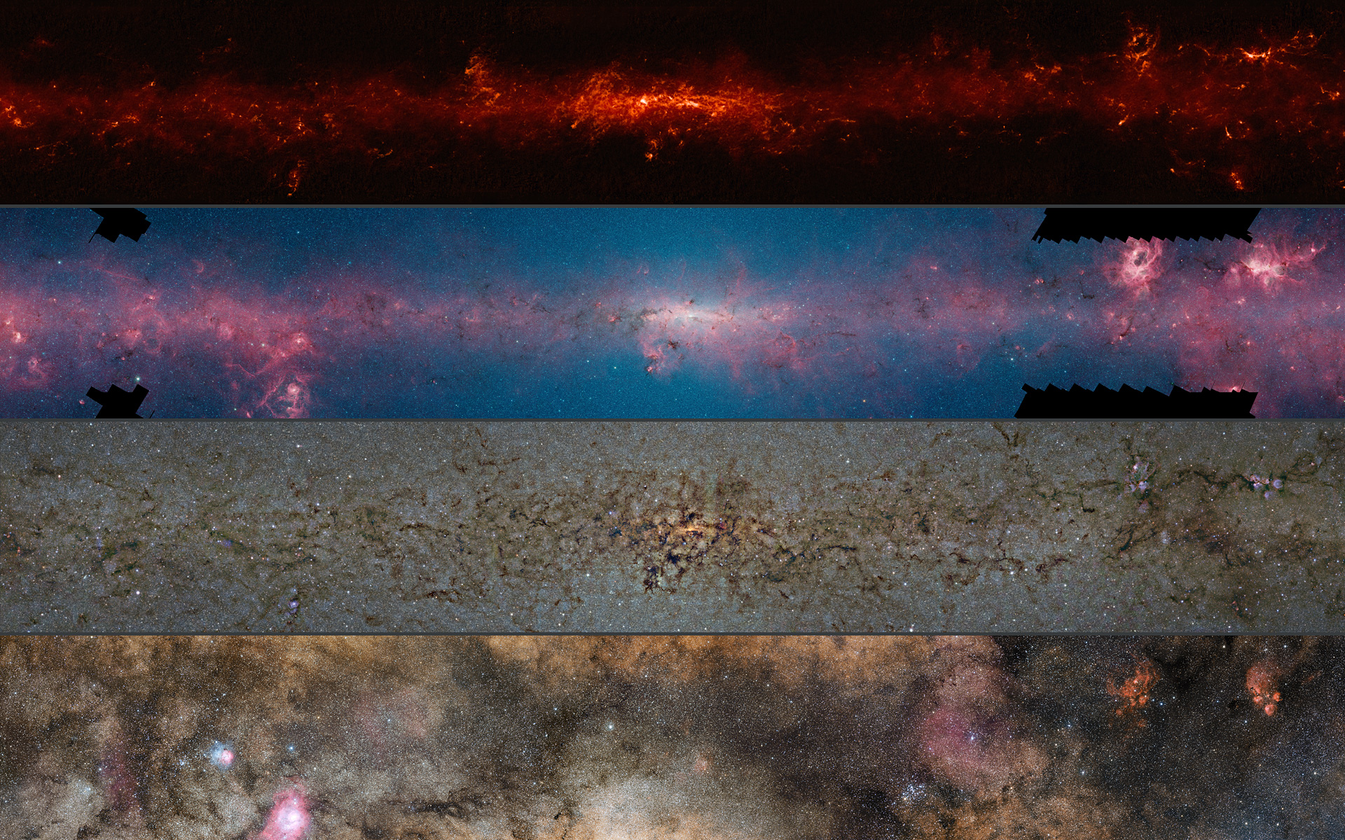 The Milky Way in newer detail. All images via ESO, ATLASGAL, NASA, GLIMPSE, VVV, ESA, Planck, Minniti, Guisard