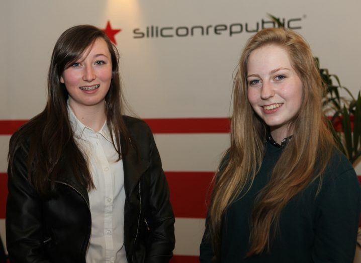 Ciara Judge and Émer Hickey at Siliconrepublic towers, image via Luke Maxwell