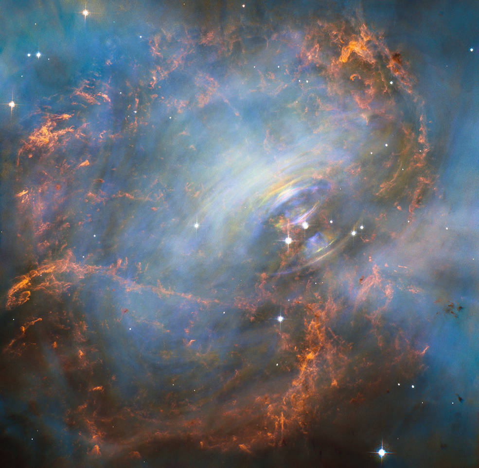 The Crab Nebula is in the Taurus constellation, around 6,500 light-years away from Earth. It's bright enough to be viewed in amateur telescopes and, having originally been recorded in 1054 by Chinese astronomers, it has fascinated scientists ever since. Hubble's view of the Crab Nebula, via NASA/ESA/J. Hester/M. Weisskopf