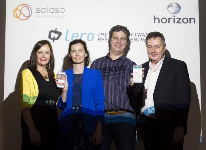 Pictured at the launch of the new initiative were Gert O'Rourke (Nexus Innovation Centre), Grainne Barry (Salaso Health Services), Andy Le Gear (Horizon Globex Ireland) and Joe Gibbs (Lero – the Irish Software Research Centre). Image via Diarmuid Greene / WeAreTrueMedia
