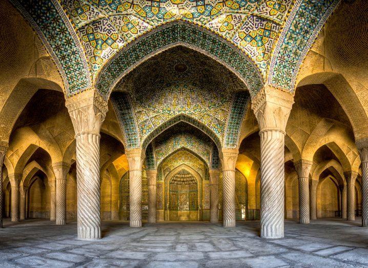 A shot from the interior of Vakil Mosque in Shiraz, Iran. Image via Mohammad Reza Domiri Ganji/Wikimedia Commons