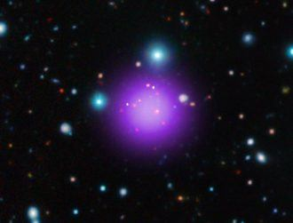 This purple blob is the most distant galaxy cluster ever found