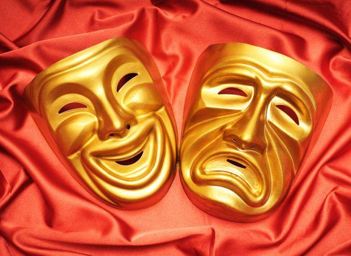 Apple Greek tragedy masks