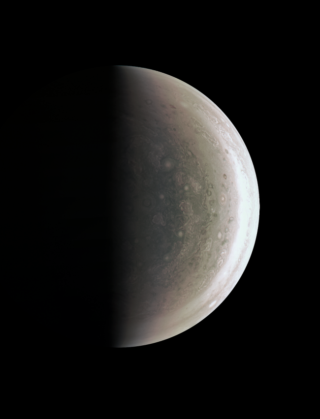 Juno was about 78,000km above Jupiter's polar cloud tops when it captured this view, showing storms and weather unlike anywhere else in the solar system. Image via NASA/JPL-Caltech/SwRI/MSSS
