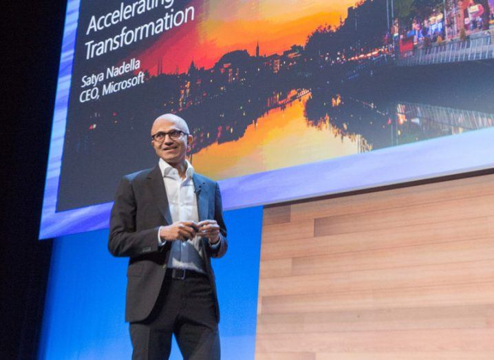 Microsoft CEO Satya Nadella says the company has invested $3bn in building its cloud in Europe. Image Naoise Culhane
