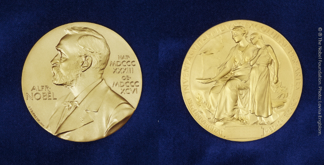 The Nobel Prize medal, front and back. Image: The Nobel Foundation/Lovisa Engblom