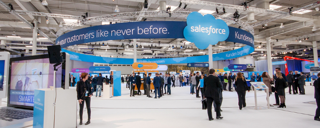 Salesforce at CeBIT in German. Image: drserg/Shutterstock