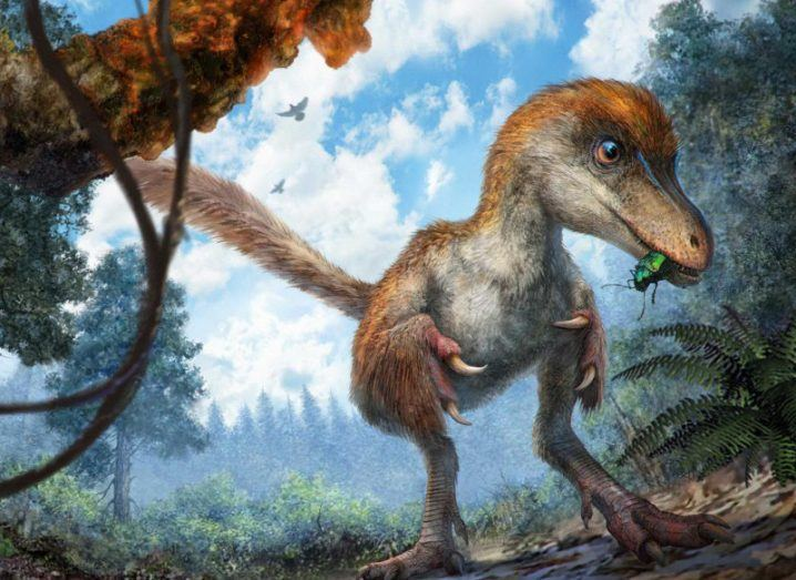 Dinosaur discovery | A small coelurosaur approaching a resin-coated branch on the forest floor. Image: Chung-tat Cheung