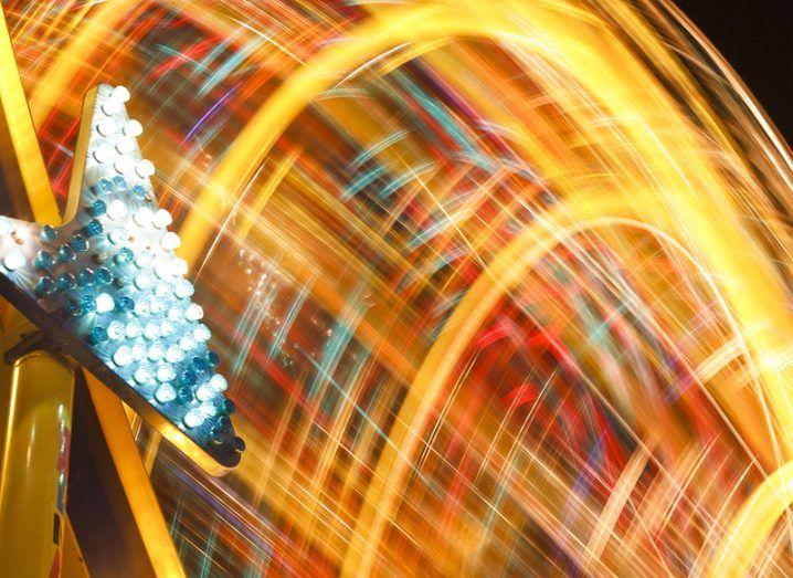 Speed of light: light blurs at fairground