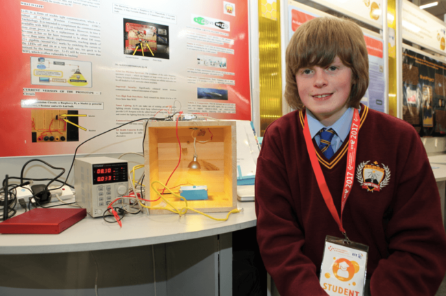 BT Young Scientist competition entrant Stephen Cushen with his Li-Pi project